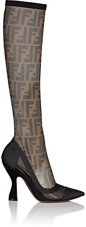 Fendi Women's Zucca-Print Mesh Knee Boots