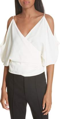 Helmut Lang Cold Shoulder Wrap Top