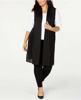 Alfani Plus Size Pleated Mesh Duster Vest