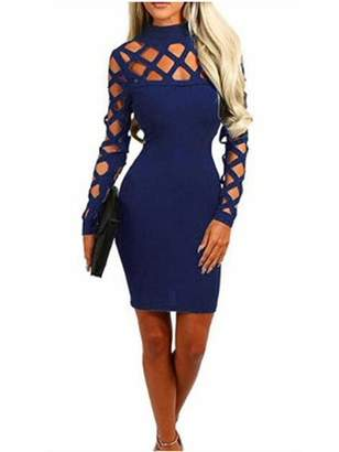 Sibylla SIBYLLA Women's Sexy Long Sleeve Hollow Out Cocktail Clubwear Party Mini Bandage Bodycon Dress