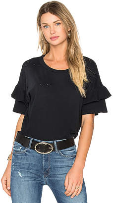 Current/Elliott The Ruffle Roadie Top in Black $118 thestylecure.com