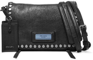 Prada Etiquette Small Studded Textured-leather Shoulder Bag - Black
