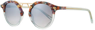 Krewe St. Louis Two-Tone Round Mirrored Sunglasses