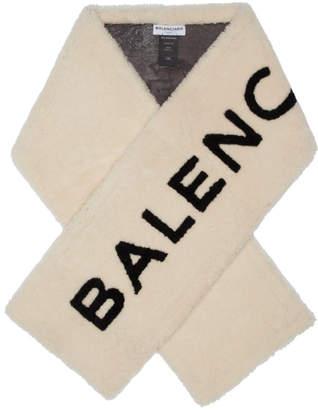 Balenciaga Beige Shearling Logo Scarf