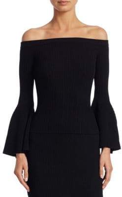 Jonathan Simkhai Released Rib Off-the-Shoulder Bell Sleeve Top
