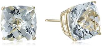 DAY Birger et Mikkelsen Amazon Collection 14k Yellow Gold Cushion Checkerboard Cut Created Blue Sapphire Studs (8mm)
