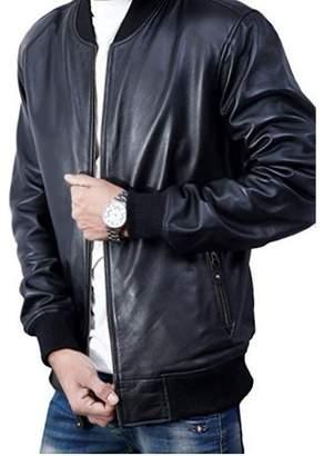 De-Marca Bomber Jacket men, Black Genuine Lambskin Leather Jacket for Men, Novelty Style