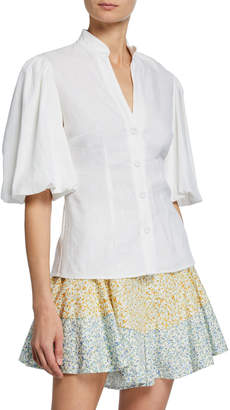 Capri Mandarin Collar Button-Front Puff-Sleeve Top