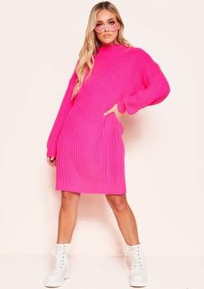 5cd118ea27 Missy Empire Missyempire Gayla Neon Pink Knit High Neck Jumper Dress