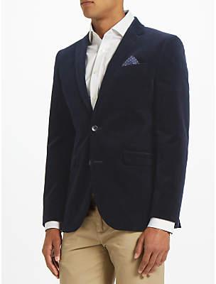 John Lewis Stretch Cord Tailored Blazer, Navy