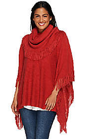 Layers by Lizden Marvelush Cowl Neck FringedPoncho
