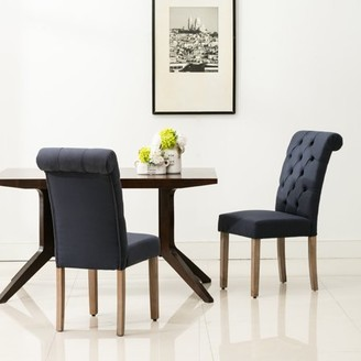 AC Pacific Natalie Roll Top Tufted Blue Linen Fabric Modern Dining Chair (Set of 2)