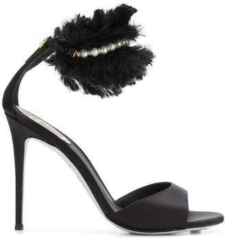 Rene Caovilla ruffle trim satin sandals