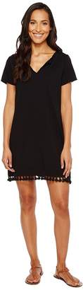 Michael Stars Notched Neck Tee Dress w/ Fringe Women's Dress