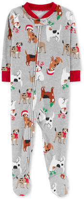 Carter's Toddler Boys Holiday Dog-Print Footed Fleece Pajamas