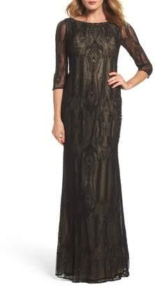 La Femme Crystal Lace Column Gown
