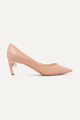 Nicholas Kirkwood Mira Faux Pearl-embellished Leather Pumps - Neutral
