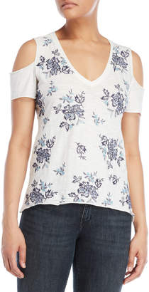Lucky Brand Floral Embroidered Cold Shoulder Tee