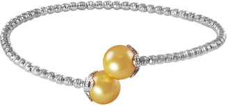 Sparkle By Imperial Sterling Silver and Stainless Steel Golden South Sea Cultured Pearl Bead Cuff Bracelet