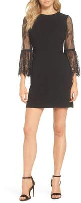 FOREST LILY Lace Sleeve Crepe Dress