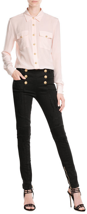BalmainBalmain Skinny Jeans with Embossed Buttons