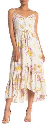 Nanette Lepore NANETTE Floral V-Neck Ruffled High/Low Maxi Dress