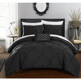 Chic Home 4-Piece Whitley Pinch Pleated Duvet Cover Set