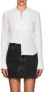 Greg Lauren Women's Studio Tuxedo-Bib Linen Shirt - White