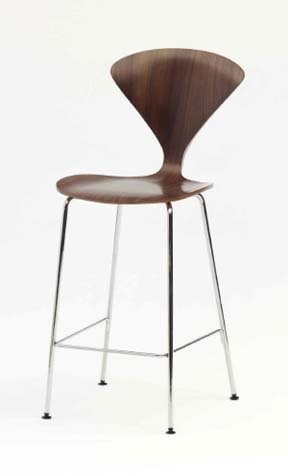 Cherner Chair Stool in Walnut With Chrome Base