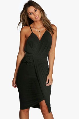 boohoo Evie Wrap Detail Plunge Slinky Midi Dress