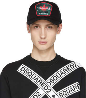 DSQUARED2 Black Maple Leaf Baseball Cap