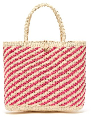 Sensi studio Studio - Canasta Woven Striped Toquilla Straw Basket Bag - Womens - Pink White
