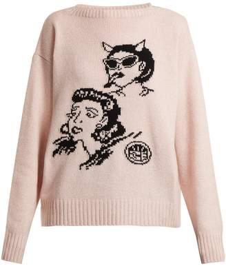 Prada Graphic-intarsia wool and cashmere-blend sweater