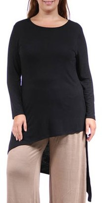 24/7 Comfort Apparel Women's Plus Size Extra Long Diagonal Sweep Tunic