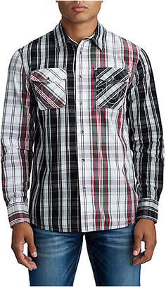 True Religion MENS PANEL PLAID BUTTON UP SHIRT