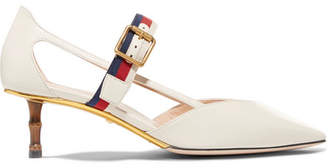 Gucci Unia Grosgrain-trimmed Leather Pumps - Ivory