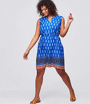 fc7161a63df LOFT Plus Border Paisley Tie Waist Dress