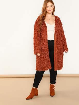 Shein Plus Open Front Teddy Coat
