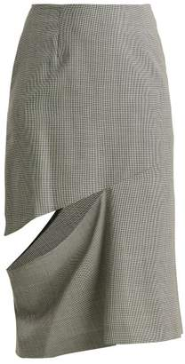 Maison Margiela Houndstooth Cut Out Skirt - Womens - Grey