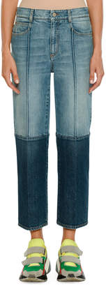 Stella McCartney Straight-Leg Cropped Two-Tone Denim Jeans