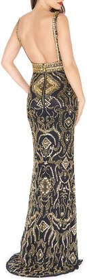 Mac Duggal Golden-Embellished Column Gown