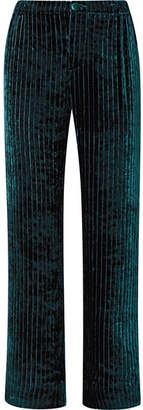 F.R.S For Restless Sleepers - Etere Quilted Velvet Straight-leg Pants - Emerald