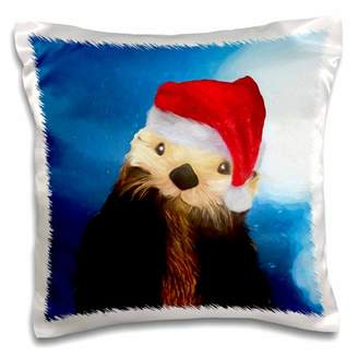 3dRose Irresistible River Otter in a Santa Hat Christmas Painting - Pillow Case, 16 by 16-inch