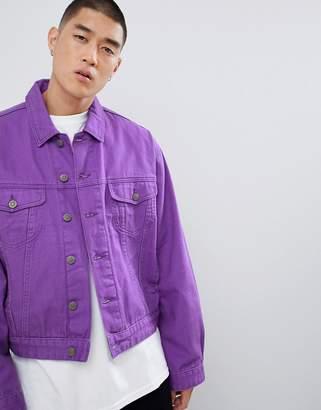 Asos DESIGN oversized denim jacket in purple