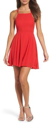 LuLu*s Good Deeds Lace-Up Skater Dress