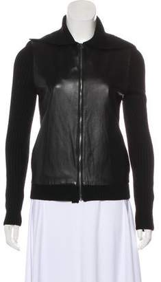 L'Agence Merino Wool Zip Up Jacket