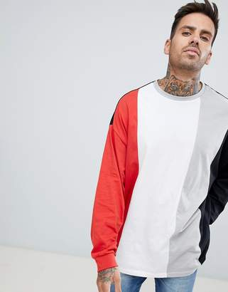 Asos DESIGN oversized longline long sleeve t-shirt with vertical color block