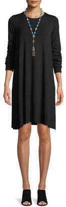 Eileen Fisher Round-Neck Long-Sleeve Jersey Dress, Petite