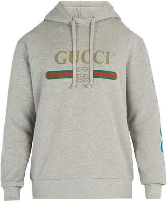 Gucci dragon and logo hooded sweatshirt