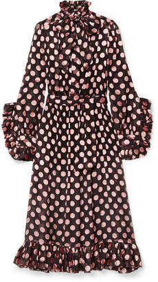 Zimmermann Polka-dot Devoré Silk-blend Chiffon Dress - Black